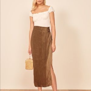 VINTAGE 90's - 100% LINEN wrap maxi skirt